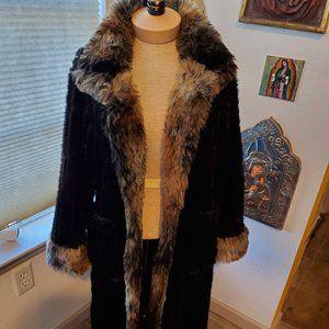 black faux fur maxi coat